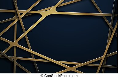 Abstract luxury gold lines and dark blue background