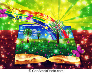 Abstract magic book - Open book with grass field, ...