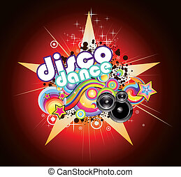 Disco Music Background - Abstract Magic Colorful Disco Music...