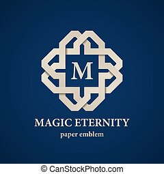 abstract magic eternity paper letter emblem