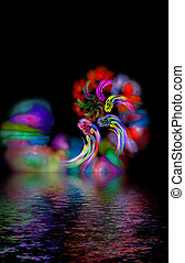 abstract magic hurricane over water, mystic color diversity