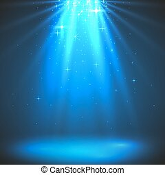 Abstract magic light background. Blue holiday burst.