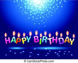 Abstract magic light  with colorful candles happy birthday