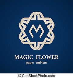 abstract magic paper flower eternity emblem