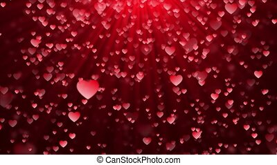 Abstract Magic Red hearts flying, Glow bokeh reflection ...