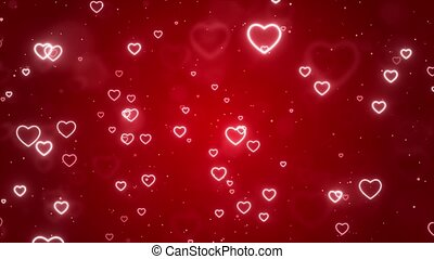 Abstract Magic Red hearts flying, Glow bokeh reflection Light background Loop animation