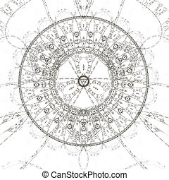 Abstract magic theme - Abstract old alchemic symbol, black...