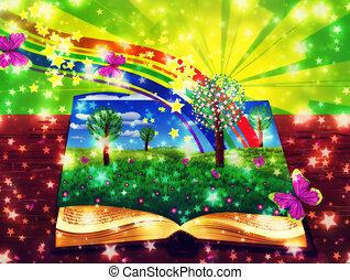 abstract, magisch, boek