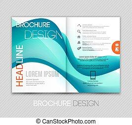 abstract, mal, informatieboekje , ontwerp, met, blauwe golf
