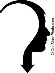 Abstract male head with arrow