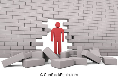 Abstract man breaking trough a wall. Concept of solution to the