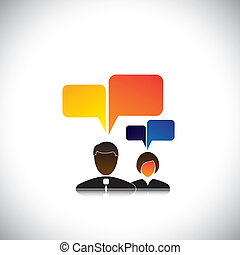 abstract man & woman employees icons with speech bubbles - concept vector. The graphic also represents employee meetings, executive discussions & interactions, workers chatting, office gossip, etc