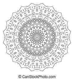 Abstract mandala line art design, coloring page