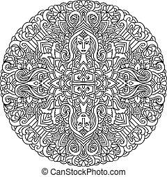 Abstract mandala ornament. Asian pattern. Black and white...
