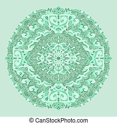 Abstract mandala ornament. Asian pattern. Green authentic...