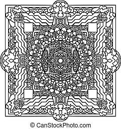 Abstract mandala ornament. Asian pattern. Black and white authentic background. Vector illustration. Tibetan tanka print