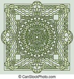Abstract mandala ornament. Asian pattern. Green authentic background. Vector illustration. Tibetan tanka print