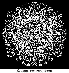 Abstract mandala ornament for adult coloring books. Asian pattern. Black and white authentic background.