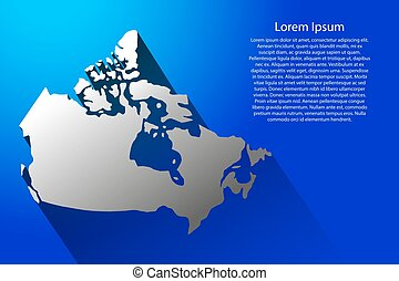 Abstract map of Canada with long shadow on blue background of vector illustration