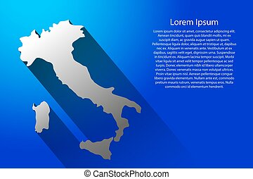 Abstract map of Italy with long shadow on blue background of vector illustration