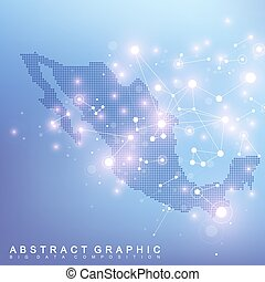 Abstract map of Mexico global network connection. Vector...