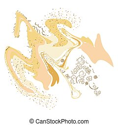 Abstract marble art template. Gold and white card design.