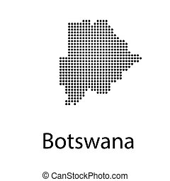 Abstract mash line and point scales on dark background with Map of botswana. Wire frame 3D mesh polygonal network line, design sphere, dot and structure. communications map of botswana.