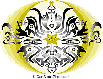 Abstract mask banner composition