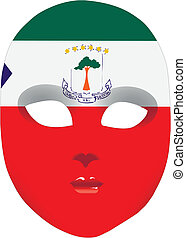 Abstract mask Equatorial Guinea stylized state flag. Vector...