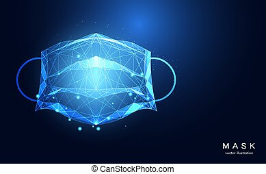Abstract mask wireframe dot and lines triangles point medical health for doctor concept protect virus Covid-19,Coronavirus,Sars disease,SARS-CoV-2 on blue background.
