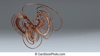 Abstract math 3d copper wire loop knot using lorenz attractor formula, 3d illustration