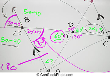 Several complex mathematical formulas, equations, and geometry written on a white board.