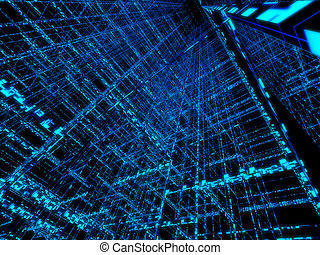 3d rendered illustration of an abstract blue background