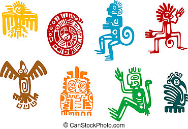 Abstract maya and aztec art symbols isolated on white ...