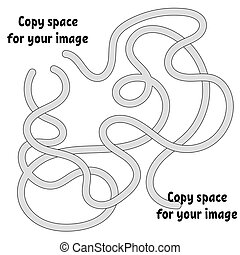 Abstract maze. Many ways from start to finish. Game puzzle for children. Labyrinth conundrum. Vector illustration. With space for your drawings.