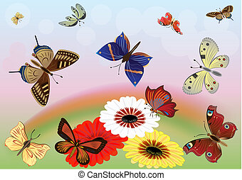 Abstract meadow with colorful butterflies vector illustration.