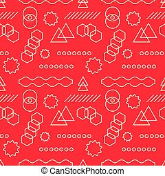 Abstract mechanism funny shapes seamless pattern