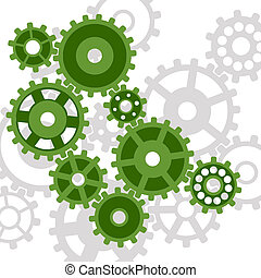 Mechanisms on a white background form an abstract background.