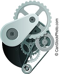 Abstract Mechanism with Metal Gears and Wheels
