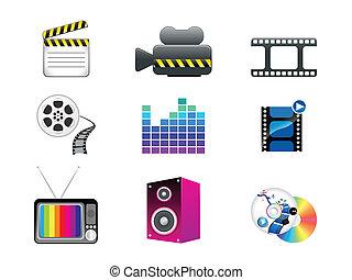 abstract media icon set