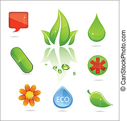 abstract medic and nature sign set