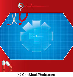 Abstract medical background - Abstract red blue medical...