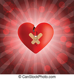Abstract medical background with broken heart