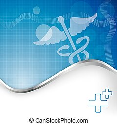 Abstract medical background with caduceus medical symbol.
