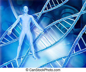 Abstract medical background with male figure, DNA strands...