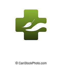 Abstract medical green pharmacy sign symbol