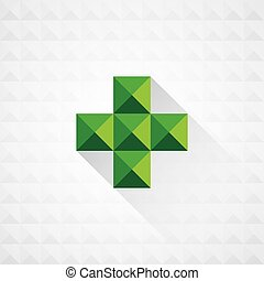 Abstract medical green sign with seamless geometric shapes