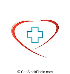 Abstract medical heart whit cross.