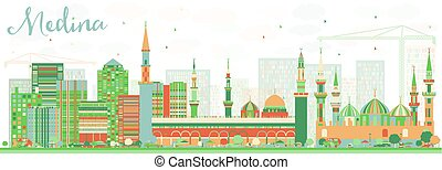 Abstract Medina Skyline with Color Buildings. Vector...