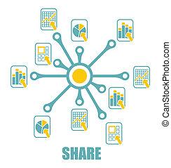 abstract, meldingsbord, aandeel, document, iconen